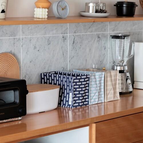 【布製収納ボックス】キッチンのかご収納代わりに★ティッシュケースにも★+リボンで椅子に取付けOKの小物入れ【60630】