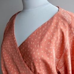 8daeb165540fe 1点もの着物リメイク カシュクールワンピース ウエストリボン 着物ドレス ミディ丈 長袖 ラップ 洗える オレンジ