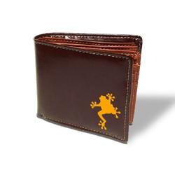 fb2193200b79 カエル 【本革】スムースレザー 二つ折り 札入れ オリジナル 雑貨 グッズ 名入れ 財布 かわいい おしゃれ