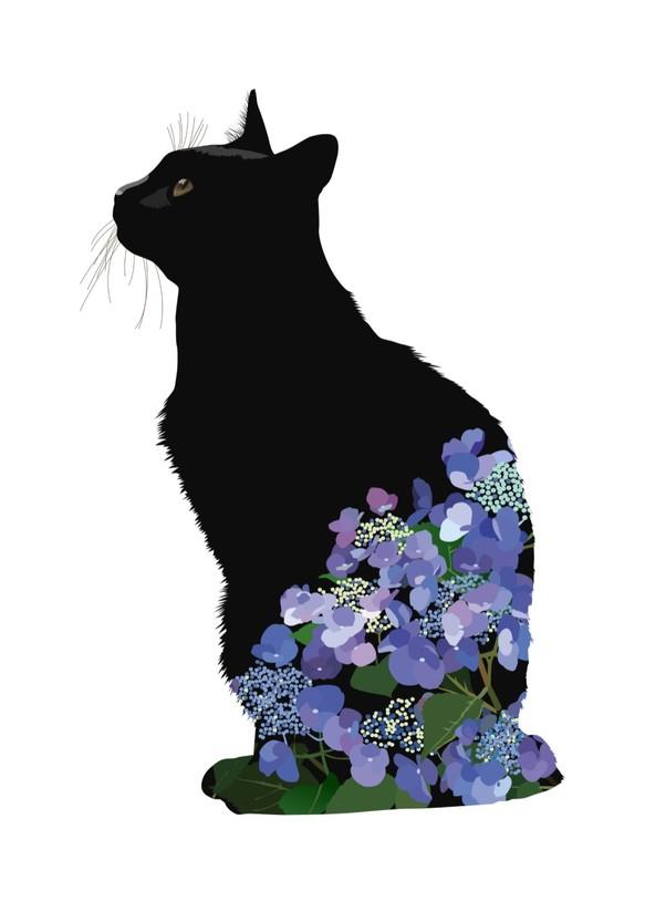 083黒猫あじさいa4イラストプリント イラスト Iwaimura 通販creema