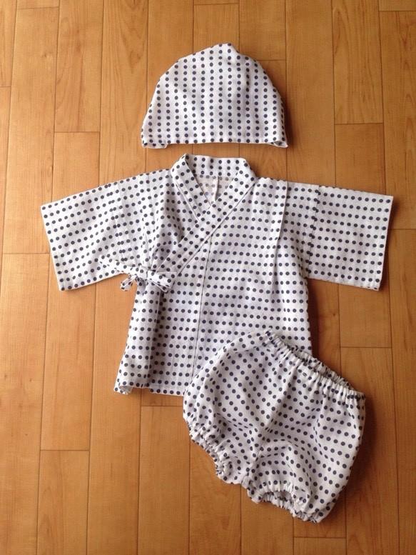 e7c0304e51f63 送料無料 子供甚平 帽子 豆絞り 紺 60〜70 ベビー服 『和らべ堂』 通販 ...