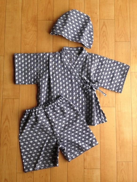 29de1bbaa332d youzan様ご注文品 ベビー甚平&帽子 麻の葉 紺 (80~90サイズ ...