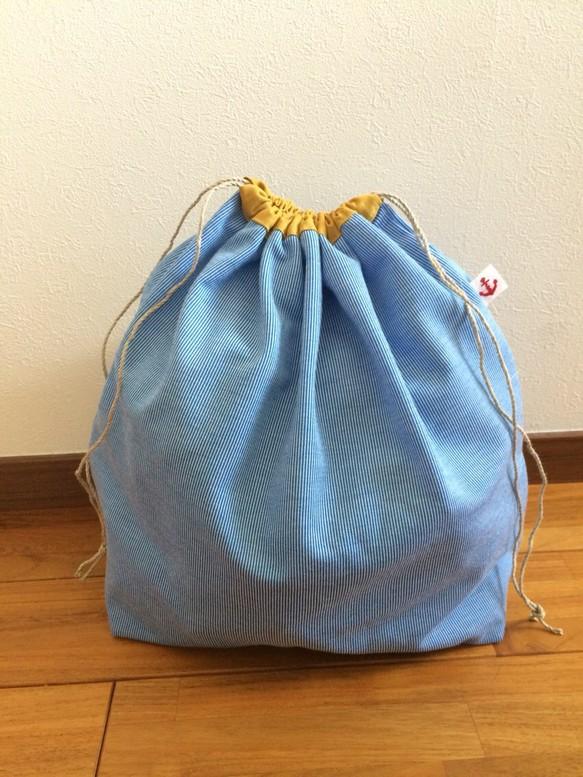 バッグイン巾着袋!麻紐籠バッグに!旅行にも便利なかなり大きな巾着袋