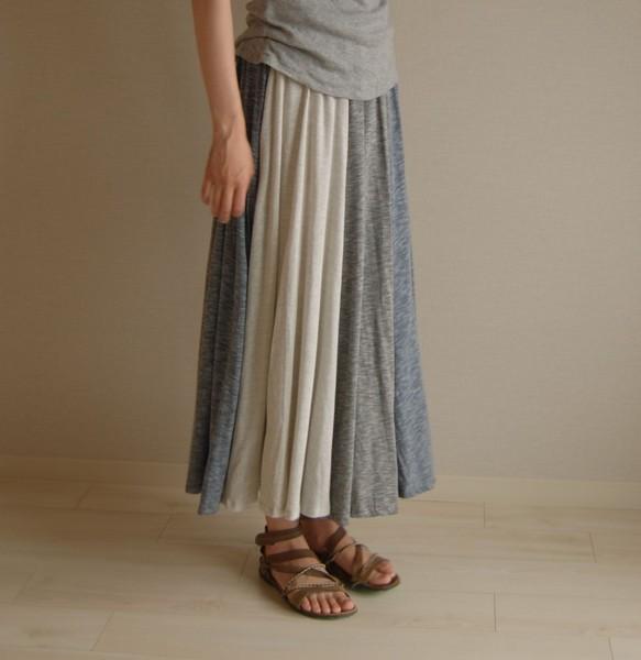 4c87a8d0461a69 異素材MIX フレアスカート 綿 グレー 白 青 スカート はるじおん 通販 ...