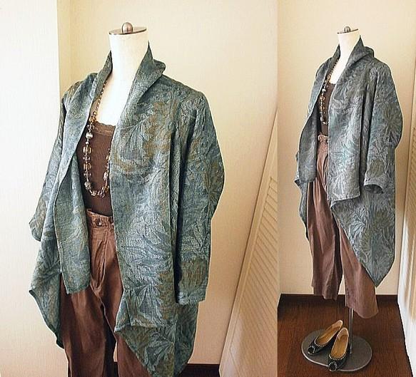 e7160bd533623  SOLD リネン 絵画のような ドレープ ローブ ターコイズ コート・ジャケット rose reine ☆ ローズレーヌ