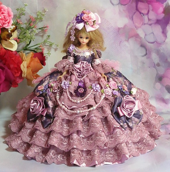 a3f1ed8a5cd0e ドール服 ピオニーの貴婦人 ボリュームフリルドレス 人形 rose reine ☆ ローズレーヌ jpg 583x590