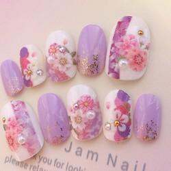 振袖、成人式にオススメ♡紫とピンクと白の和柄のネイルチップ♡151|ネイルチップ|Jam Nail|ハンドメイド通販・販売のCreema