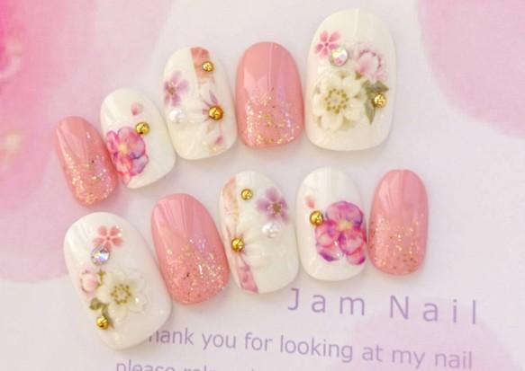 振袖におすすめ♡ピンクと白の桜のお花の和柄のネイルチップ♡73