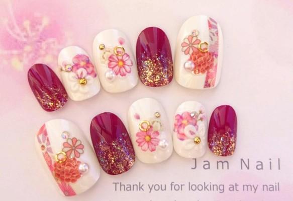 振袖や袴♡成人式にオススメ♡赤のお花と紫の和柄のネイルチップ♡154 ネイルチップ Jam Nail