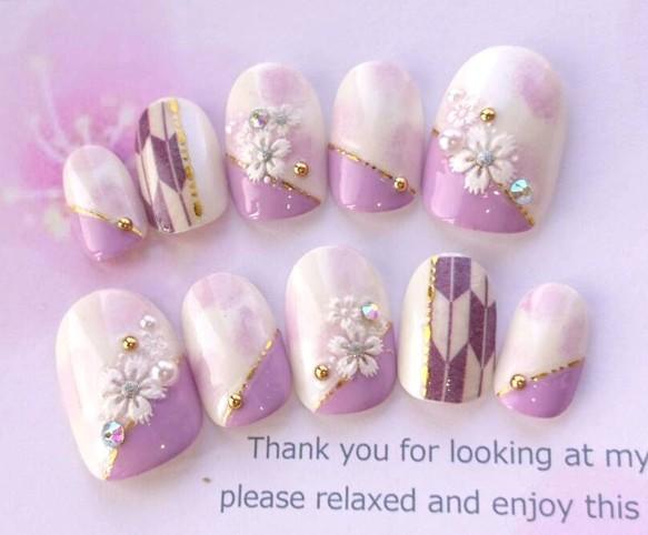 送料無料♡袴や和装に◆ふんわり紫と白の花と矢絣柄の和柄のネイルチップ◆182