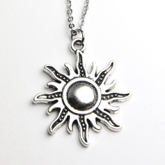 The sun pendant necklace vintage antique silver and bronz the sun pendant necklace vintage antique silver and bronz mozeypictures Choice Image