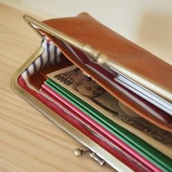 c85a02e2b97b ヌメ革 がまぐち 長財布 財布 レザー たくさん入る がま口 ロング タイプ ~受注生産~
