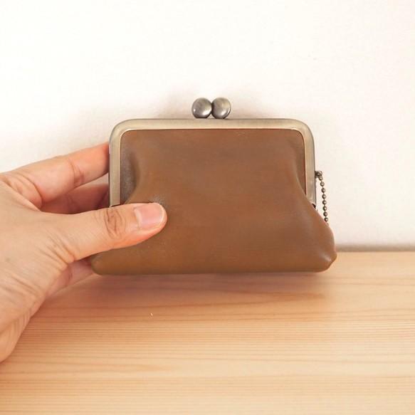 7ca9689ec7e3 ヌメ革 がまぐち mini 財布 レザー 小銭&カードに がま口 ~受注生産 ...