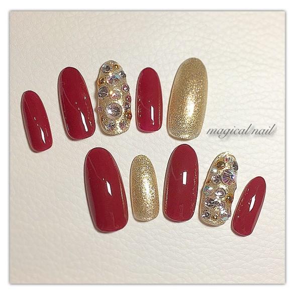 赤×金 ボルドー ゴールド スワロ埋めつくし ネイルチップ オーダーチップ 派手ネイル かっこいい 豪華