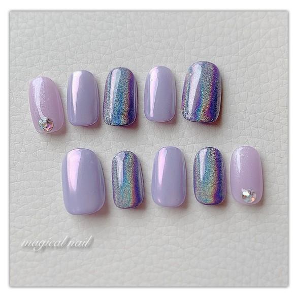 パープル オーロラ ユニコーン ネイルチップ シンプル 可愛い キラキラ 紫 パステル