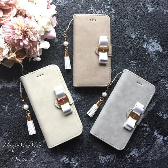 6a6c0d9f06 スマホケース iphoneX 通話穴♥iphone8PLUS/iphone7PLUSスエード調Gray☆グランリボン