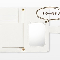 80f61869ca Android iPhone両対応【ミラー付き手帳型スマホケース】桜パープル ...