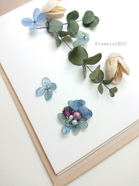 vintage blue flowers with bejew イヤリング パーツ変更可