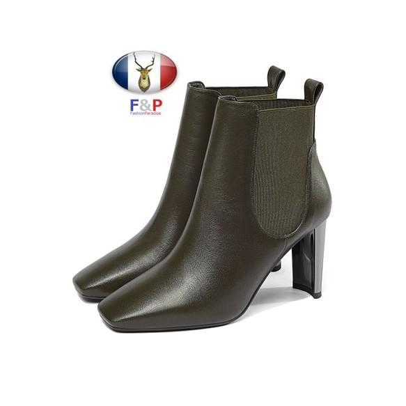 ee1cc6c545206e スクエアトゥハラコレザーサイドゴアショートブーツ全2色 シューズ・靴 ...