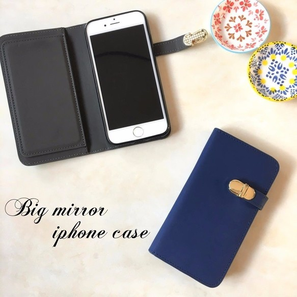 56f98b8fb0 手帳型 iphoneSE iphone5s iphone5 シンプルにかわいい ミラー付き スマホケース N