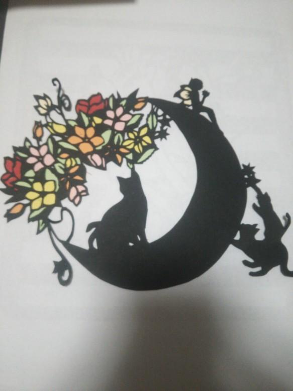 月と猫&花の妖精