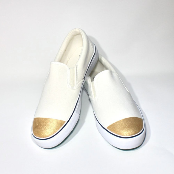 d4885c89138fd ゴールドトゥスリッポン (White ver.) シューズ・靴 3kadukiakari 通販 ...