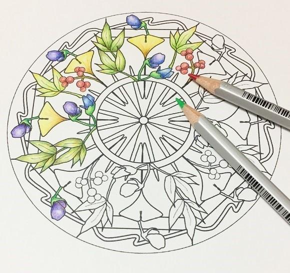 F01 こころを整えるお花のマンダラ塗り絵6枚セット イラスト ここ