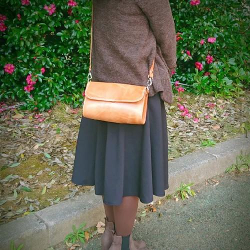 【ステマチ技法使用】本革 総手縫い シンプル ショルダー バッグ