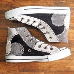 302b195980d3 【受注制作】モノクロ チクチク靴 HI 16ピース シューズ・靴 DWARF ( ドワーフ ) 通販 Creema(クリーマ) ハンドメイド・手作り・ クラフト作品の販売サイト