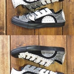 32e7219dc3ee 【受注制作】 モノクロ チクチク靴 LOW 16ピース 黒ソール シューズ・靴 DWARF ( ドワーフ ) 通販 Creema(クリーマ)  ハンドメイド・手作り・クラフト作品の販売サイト