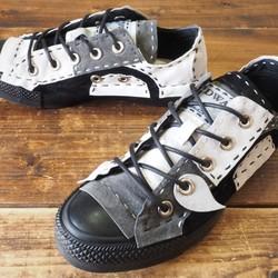 c0ec9dfa1020 受注制作】 モノクロ チクチク靴 LOW 16ピース 黒ソール シューズ・靴 DWARF ...