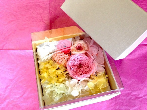 gift box of flowers pink yellows roses gift box of flowers pink yellows roses negle Images