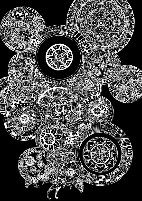 抽象画 花 白黒反転 A4  絵画 ヒロシ・ド・クレヨン