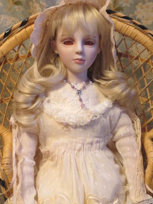 創作ビスクドール人形 白いドレ...