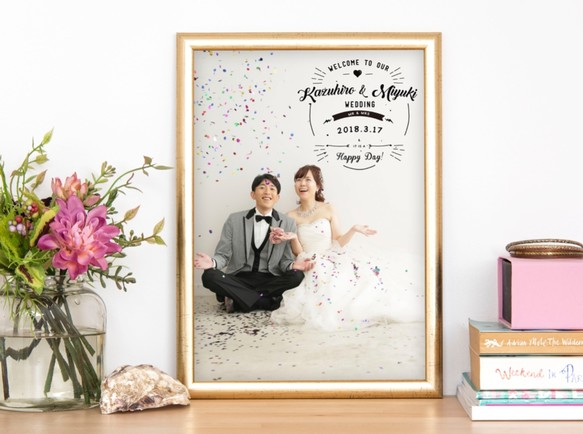 前撮り写真 海外風 おしゃれウェルカムボード⑥ │結婚式 ウェディング