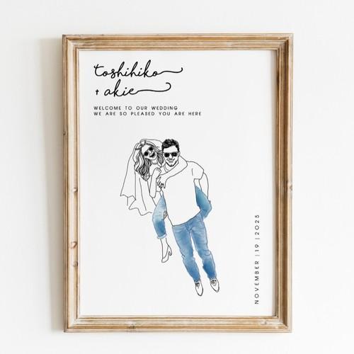 Ny在住イラストレーターが描くおしゃれ似顔絵ウェルカムボード 結婚祝い ウェルカムボード Diystorepbw 通販 Creema クリーマ ハンドメイド 手作り クラフト作品の販売サイト
