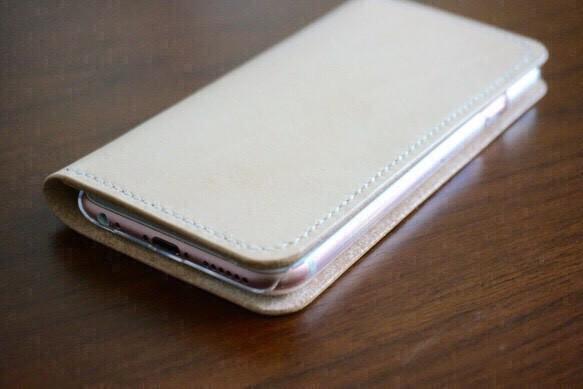 43b2656588 牛革 iPhone6/6sカバー ヌメ革 レザーケース 手帳型 ナチュラルカラー ...