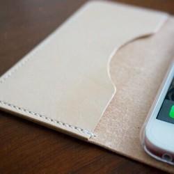 0249e0aeb3 牛革 iPhone6/6sカバー ヌメ革 レザーケース 手帳型 ナチュラルカラー ...