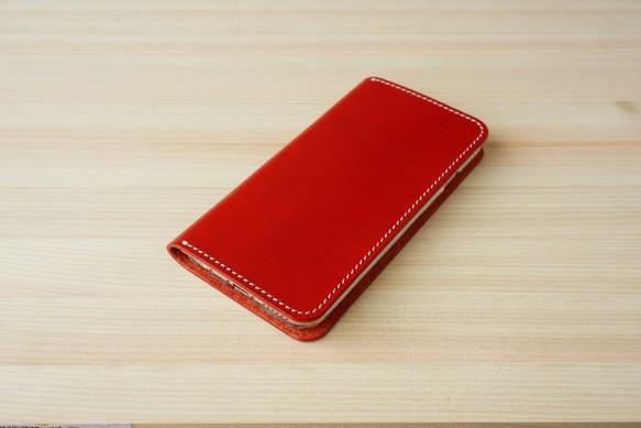 7866985bff 牛革 iPhone6/6sカバー ヌメ革 レザーケース 手帳型 レッドカラー iPhone ...