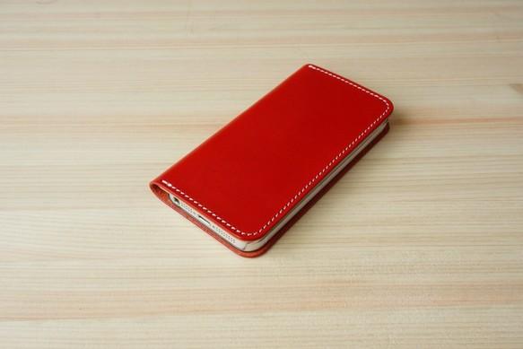2ecfb84929 牛革 iPhone5/5sカバー ヌメ革 レザーケース 手帳型 レッドカラー iPhone ...