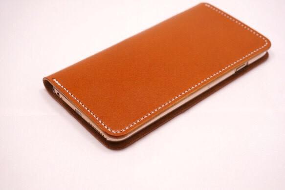 d35f8c7f1e 牛革 iPhone6Plus/6sPlusカバー ヌメ革 レザーケース 手帳型 キャメル ...