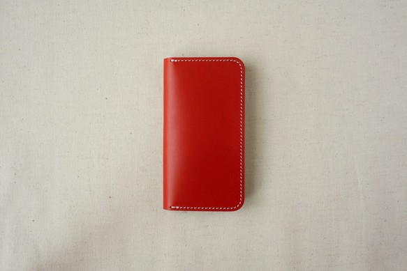 67a46f6fd1 牛革 iPhone SE/5/5sカバー ヌメ革 レザーケース 手帳型 レッドカラー ...