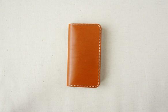 d9cc3f9b46 牛革 iPhone SE/5/5sカバー ヌメ革 レザーケース 手帳型 キャメルカラー ...
