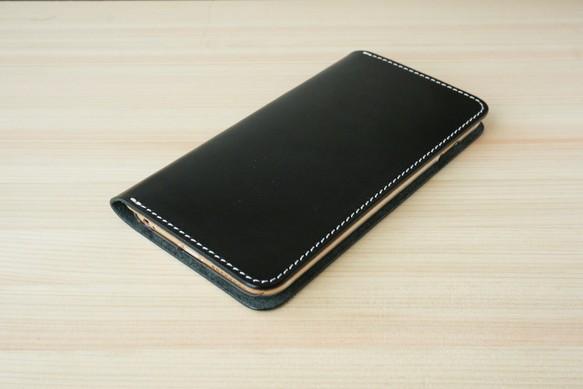 c1524b9b21 牛革 iPhone6Plus/6sPlusカバー ヌメ革 レザーケース 手帳型 ブラック ...
