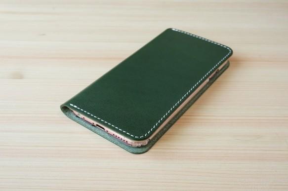 5b5cb8b164 牛革 iPhone6/6sカバー ヌメ革 レザーケース 手帳型 グリーンカラー ...