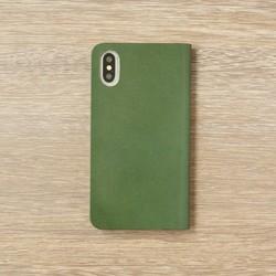 cb8bc5ced2 牛革 iPhoneXS/Xカバー ヌメ革 レザーケース 手帳型 グリーンカラー ...