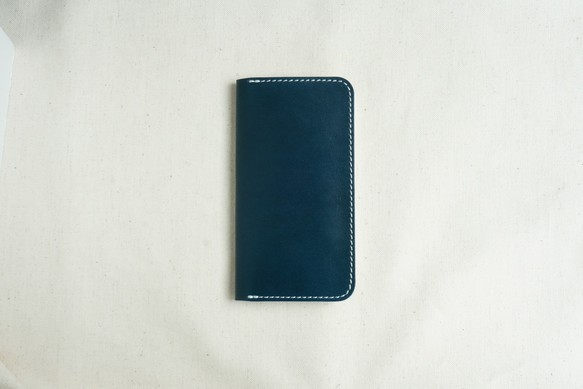 a62a041661 牛革 iPhone SE/5/5sカバー ヌメ革 レザーケース 手帳型 ネイビーカラー ...