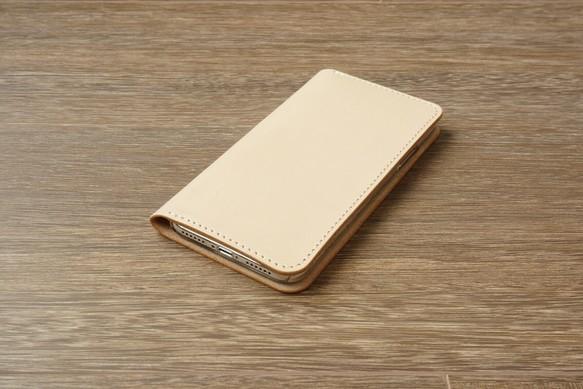 1d3772184d 牛革 iPhoneXRカバー ヌメ革 レザーケース 手帳型 ナチュラルカラー ...