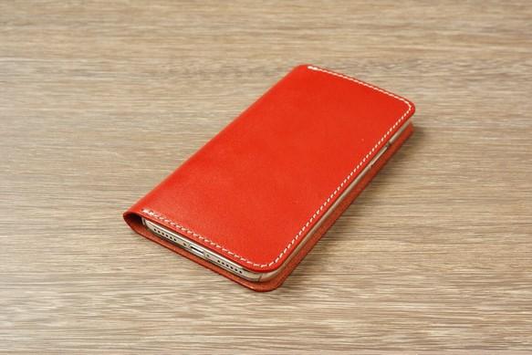 9fa7cea1b9 牛革 iPhoneXRカバー ヌメ革 レザーケース 手帳型 レッドカラー iPhone ...