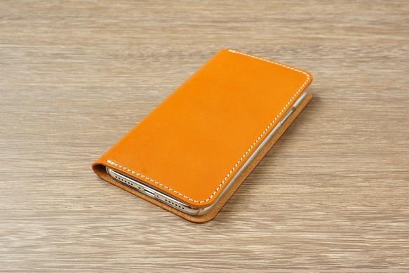 f246e9f964 牛革 iPhoneXRカバー ヌメ革 レザーケース 手帳型 キャメルカラー iPhone ...